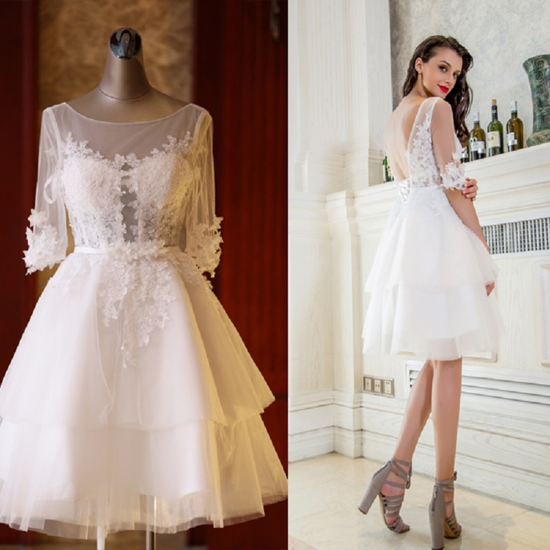 2018 new stock plus size women pregnant   bridesmaid     dresses   wedding party A line lace flower sexy romantic cheap ivory   dress