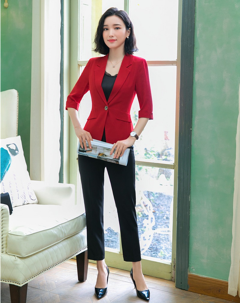 Uniform Styles Formal Business Suit With Jackets And Pants Elegant Red Spring Summer Ladies Blazers Pantsuits Trousers Sets