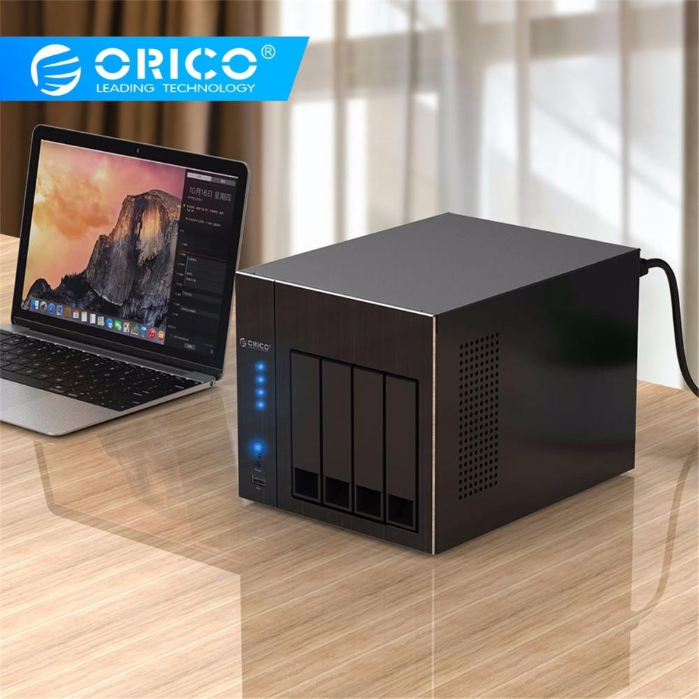 ORICO HDD Enclosure 2.5 3.5'' 4 Bay Network Attached Storage With RAID Docking Station Gen7 USB3.0 HDMI RJ45 Audio SSD HDD Case
