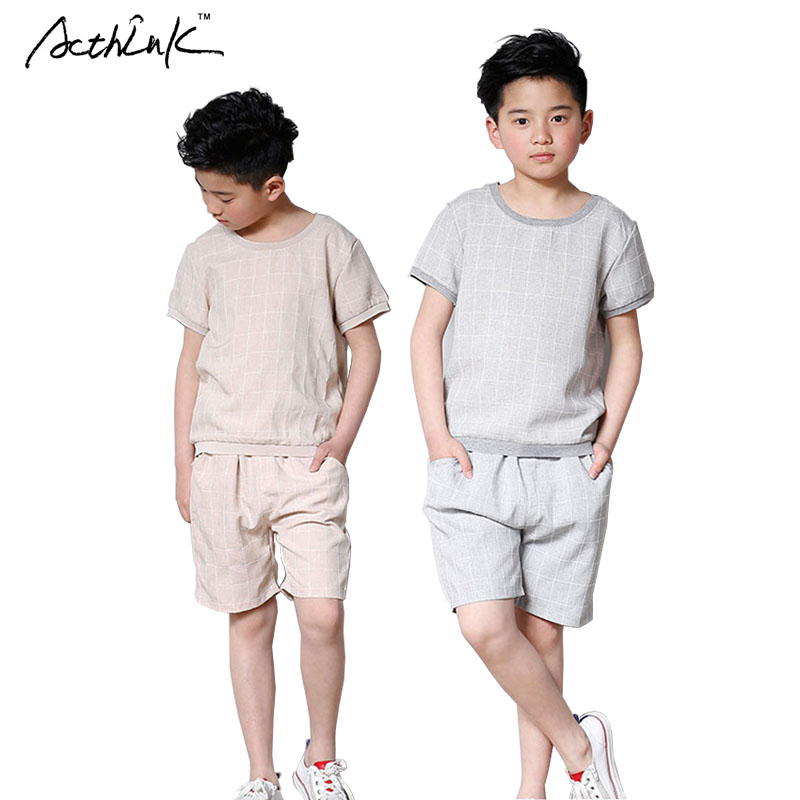 ActhInK New Summer Teen Boys Solid Cotton T-shirt+Shorts Clothing Set Kids Summer O-Neck T-shirts Boys Casual Sports Suits,AC080 sun moon kids boys t shirt summer