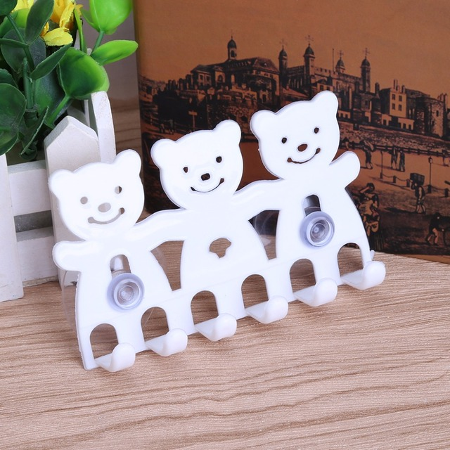 White Toothbrush Holder Wall Mounted Suction Cup 5 Position Cute Cartoon  Smile/Bear Bathroom Accessories