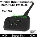 2016 V4 Intercomunicador 1200 M 4 Jinetes de La Motocicleta Del Intercomunicador Del Casco BT Interfono Casco Auricular Bluetooth Inalámbrico Con Radio FM