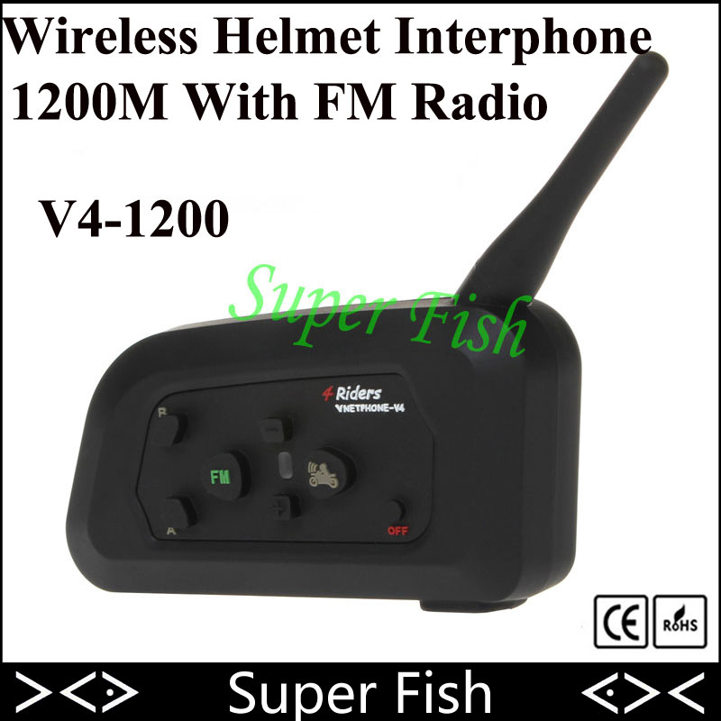 Vnetphone V4 Helmet Intercom Headset 1200M 4 Riders Intercomunicador Motorcycle Bluetooth Wireless Interphone With FM Radio vnetphone 5 riders capacete cascos 1200m bt bluetooth motorcycle handlebar helmet intercom interphone headset nfc telecontrol