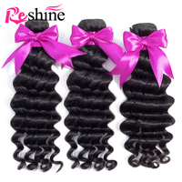 Reshine Malaysian Loose Deep Wave Bundles 100% Human Hair 1/3/4 Bundles Natural Color Remy Hair Weave Extensions Free Shipping