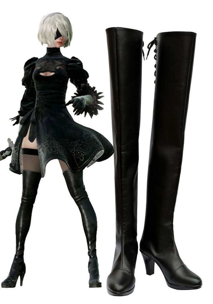 NieR: Automata 2B Boots Cosplay Shoes Boots Custom Made-in Shoes from Novelty & Special Use    1