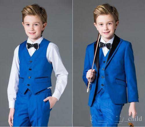 Bleu fleur garçons enfants mariage marié Tuxedos enfant fête formelle bal costumes 3 pièces (veste + pantalon + gilet)