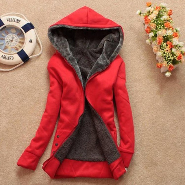 New 2016 Spring autumn winter Lady Cardigan Hoodies Outerwear Women Parkas With Hat Girls Warm Thicken Cotton Collar Jacket B144