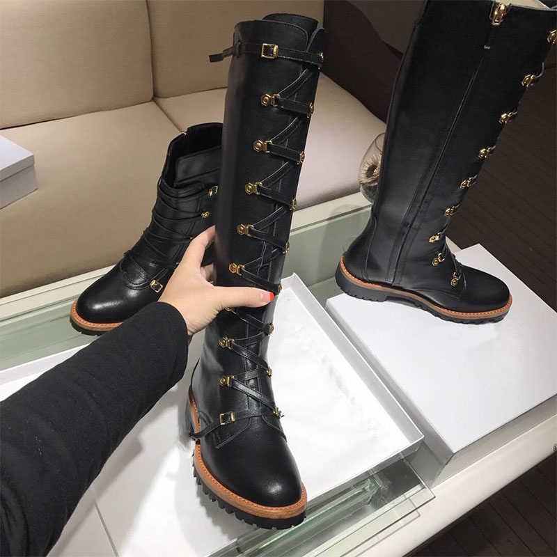 Teahoo 2017 Mùa Đông Ren Up Gối Cao Knight Phụ Nữ Khởi Động Toe Vòng Vàng Buckle Genuine Leather Xe Gắn Máy Khởi Giày