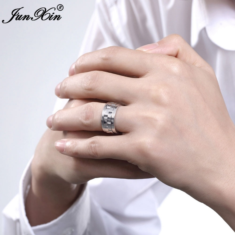 JUNXIN Silver Color Geometric Design Men\'s Stainless Steel Ring New ...