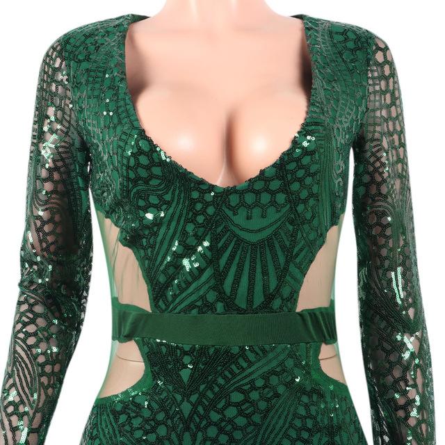 Sparkly sequin black long sleeve midi dress