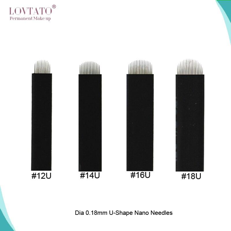 0.18mm U-Shape Nano Tattoo Needles Microblading Needle Blade 12U 14U 16U 18U Permanent Makeup Eyebrow Eyebrow Tebori Agulhas