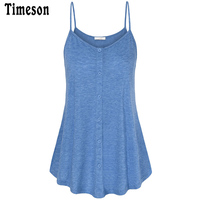 Timeson 2017 New Women Sexy Summer Loose V Neck Spaghetti Strap Camisoles Flowy Tank Tops Sleeveless