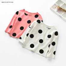 2017 Autumn Baby Girls Long Sleeve Shirts Polka Dots Children Blouses Kids Tops White Pink 2
