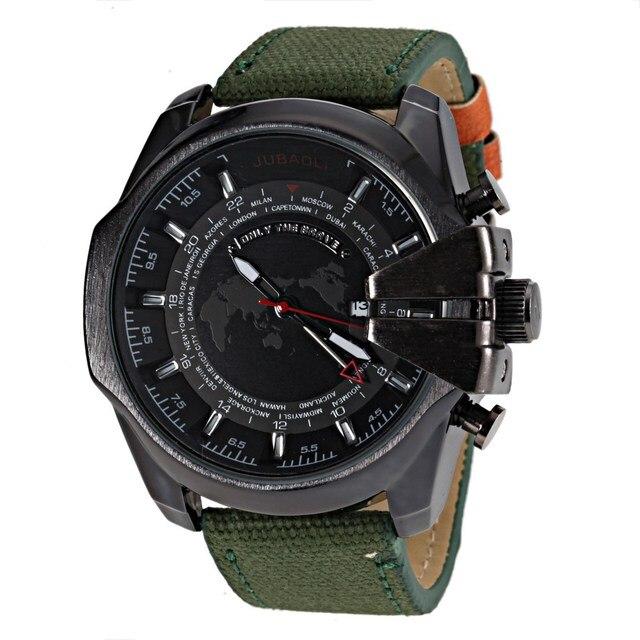 3d056241fca2 JUBAOLI Reloj Para Hombre Relojes de pulsera de Cuarzo Luminoso Verde  Militar Tela Correa Relojes Deportivos