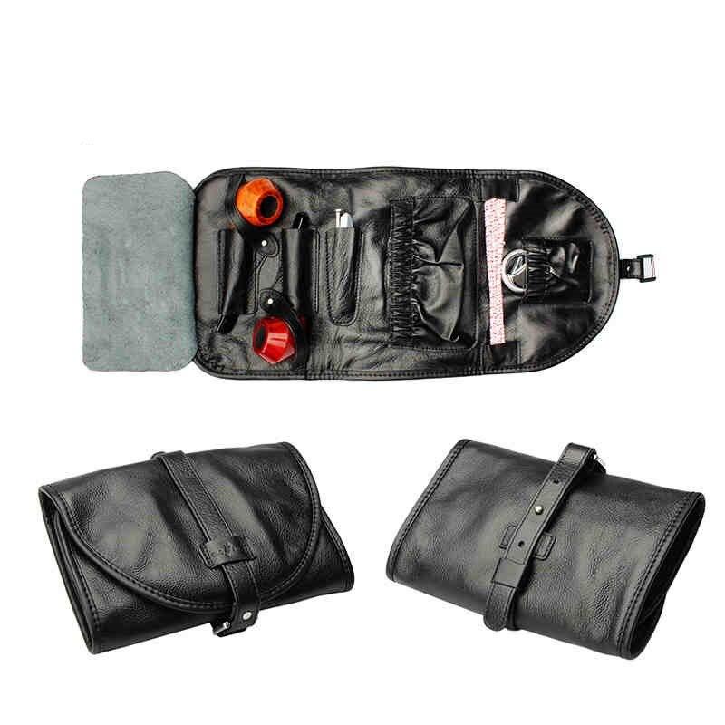 Sac à pipe plié en cuir de vachette noir pochettes de voyage pour Pipe à tabac (2 pièces) sac porte-tuyau outils pour tabac