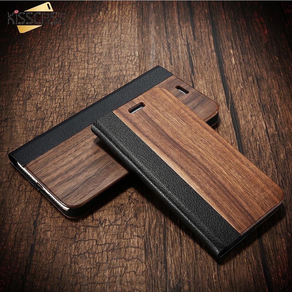 Galleria fotografica KISSCASE Wood Case For iPhone 8 7 6 6S Plus Cases Genuine Bamboo Flip Leather Wallet Stand Coque For iPhone 6 6s 7 8 plus Case
