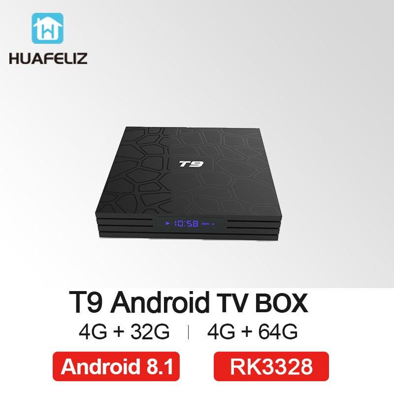 Nouveau 2018 T9 Smart TV Box Android 8.1 4 gb 32 gb 64 gb Rockchip RK3328 Quad-core 1080 p H.265 4 k Google Lecteur Magasin Netflix PK X92