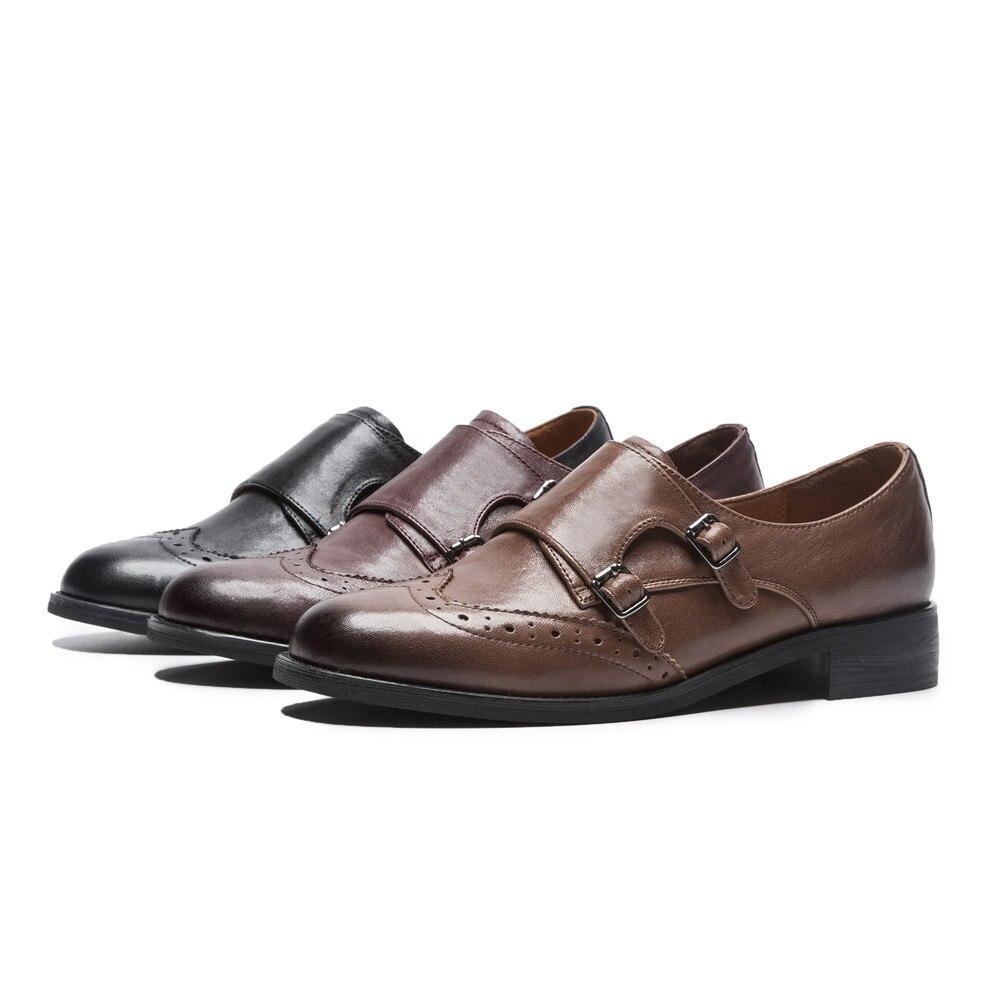 Cuero Mujer Bonjomarisa Wine Bombas Casual Zapatos Otoño Brown Nueva xn447F