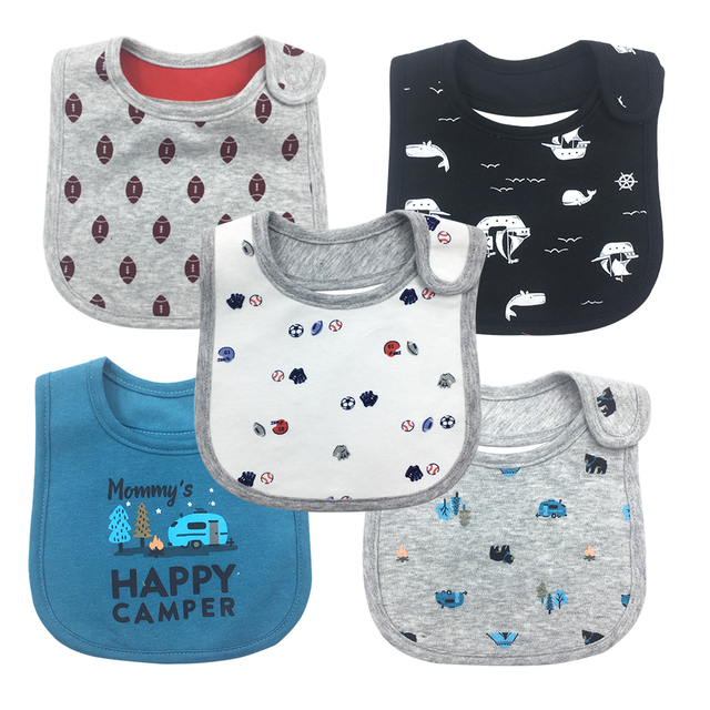 5pcs Bib Baby Bibs Baberos Babador Bavoir Carter Waterproof cute cartoon Embroidery printing Babies burp cloth 0-24 months