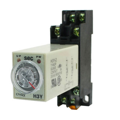 Knob Control DC24V/DC12V/AC110V/AC220V  8P DPDT 5s Seconds Timer Time Delay Relay w Socket H3Y-2 5 pieces h3y 2 power on time delay relay solid state timer max 30m 220vac dpdt