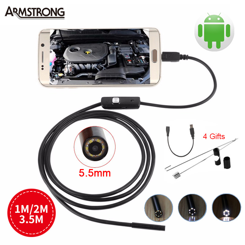 Endoscope 5.5mm Lens USB Android Camera 1M 2M 3.5M Portable Snake Tube Inspection Borescope Waterproof Endoscopio for Andorid 7mm lens mini usb android endoscope camera waterproof snake tube 2m inspection micro usb borescope android phone endoskop camera