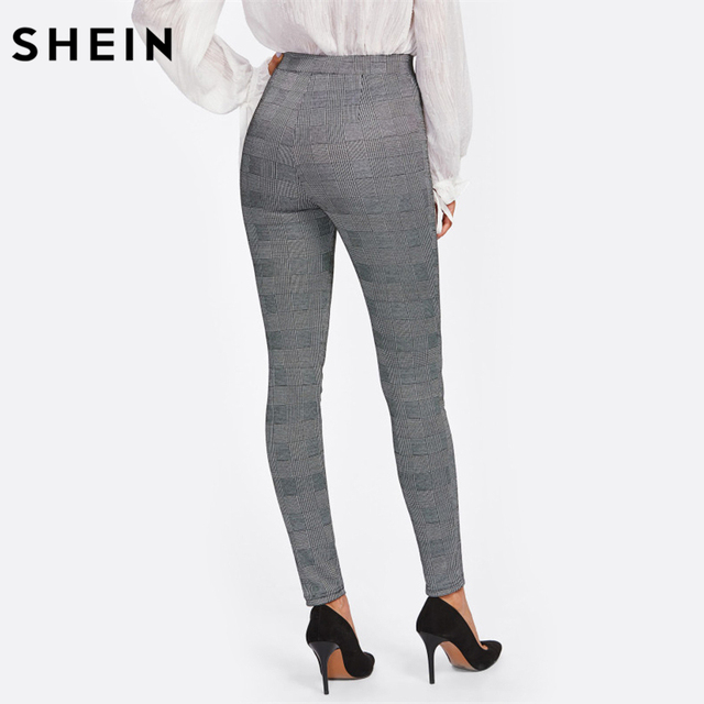 SHEIN High Waisted Pants Autumn Elegant Trousers Women Grey Plaid Stretchy Pants Ladies Elastic Waist Skinny Pants
