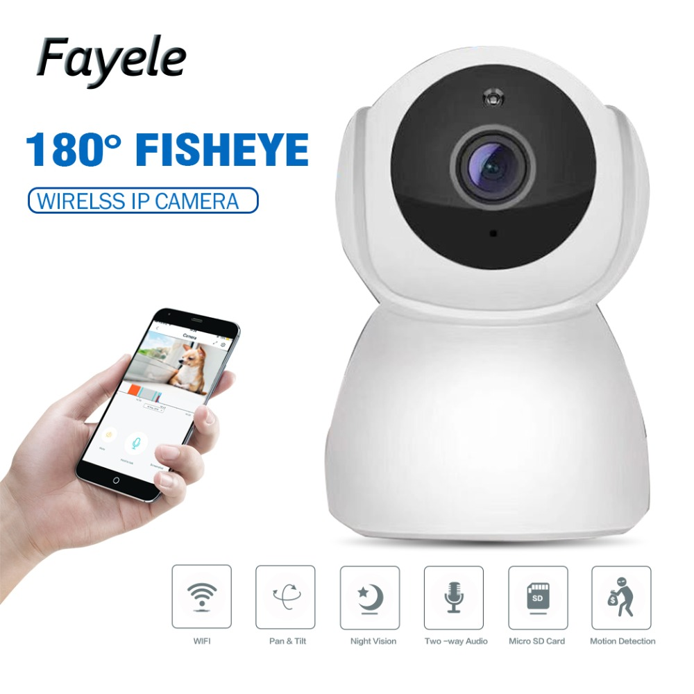 Security HD 1080P WIFI IP Camera 2mp 180 Fisheye Camera 720P Night Vision IR 10M 2 way Audio Intercom SD Card Slot Baby Monitor цена