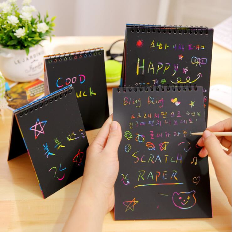 Black Cardboard Scratchbook Magic Drawing Book DIY Scratch Stickers Notebook Stationery Drawing Toy with wood pen as Gift