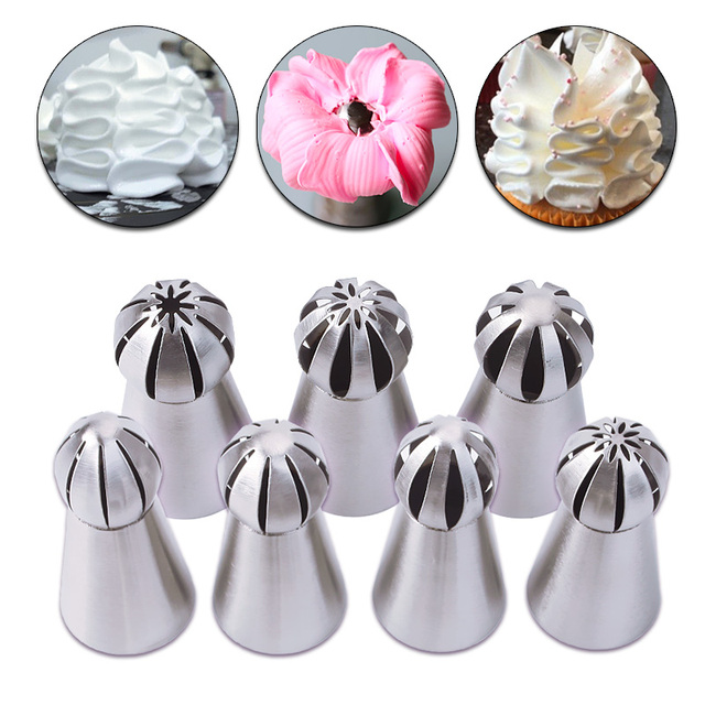 7pcs Set Metal Stainless Steel Cutters Professional Cake Decorators Russian Pastry Nozzles Piping Tips For