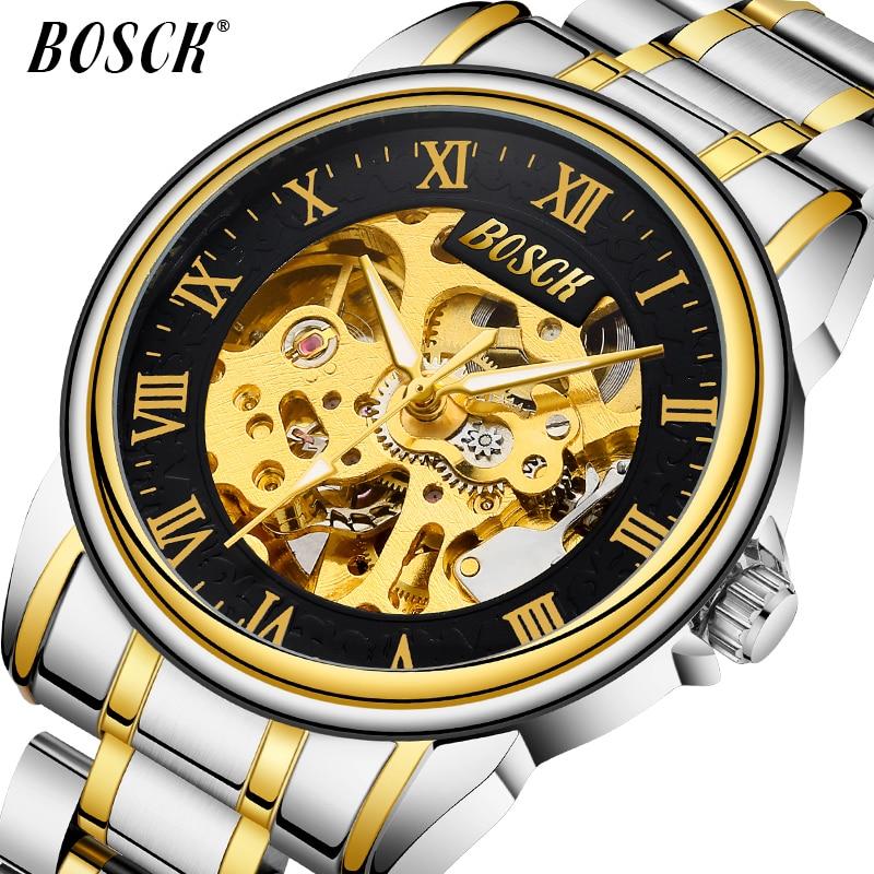 BOSCK Férfi luxus arany vízálló nézni az új divat trend - Férfi órák