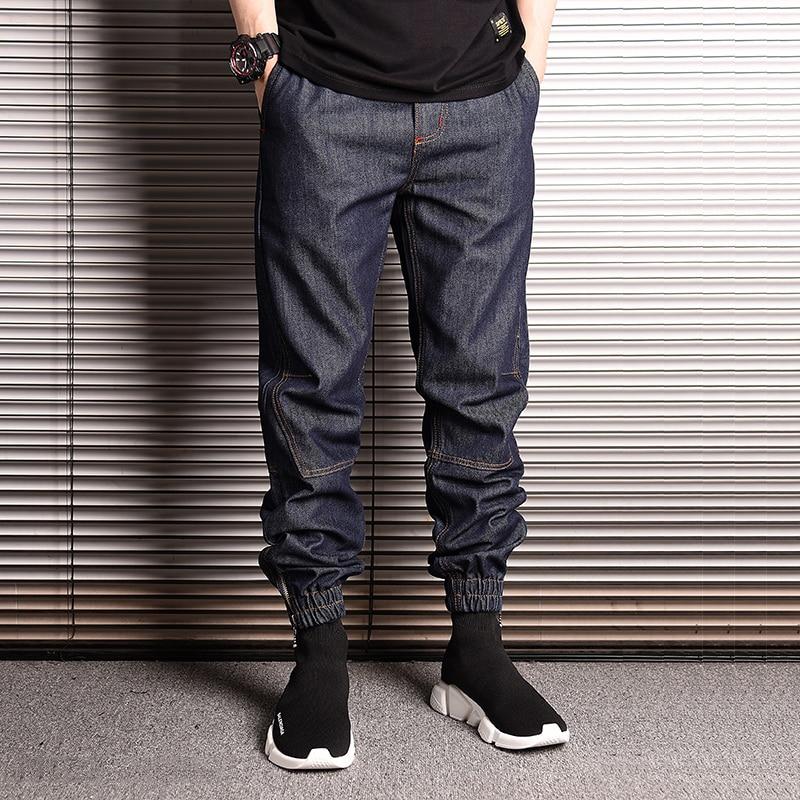 Japanese Style Fashion Men Jeans Elastic Waist Loose Fit Harem Denim Cargo Pants Hombre Streetwear Hip Hop Joggers Jeans Men