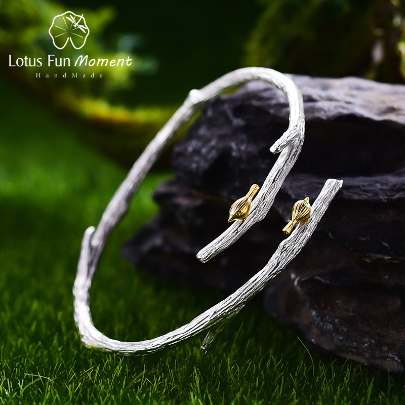 Lotus Fun Moment Real 925 Sterling Silver Vintage Original Fashion Jewelry Bird on Branch Adjustable Bangle