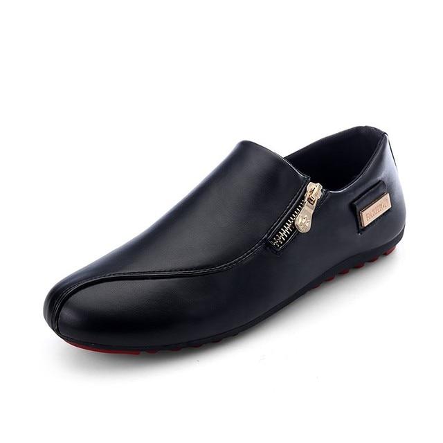 Người đàn ông Căn Hộ Giày Màu Trắng Giản Dị Nền Tảng Nhọn Giày PU Giày Da Giày Da Nam Người Đàn Ông Căn Hộ Thoáng Khí Cộng Với Kích Thước 39- 45