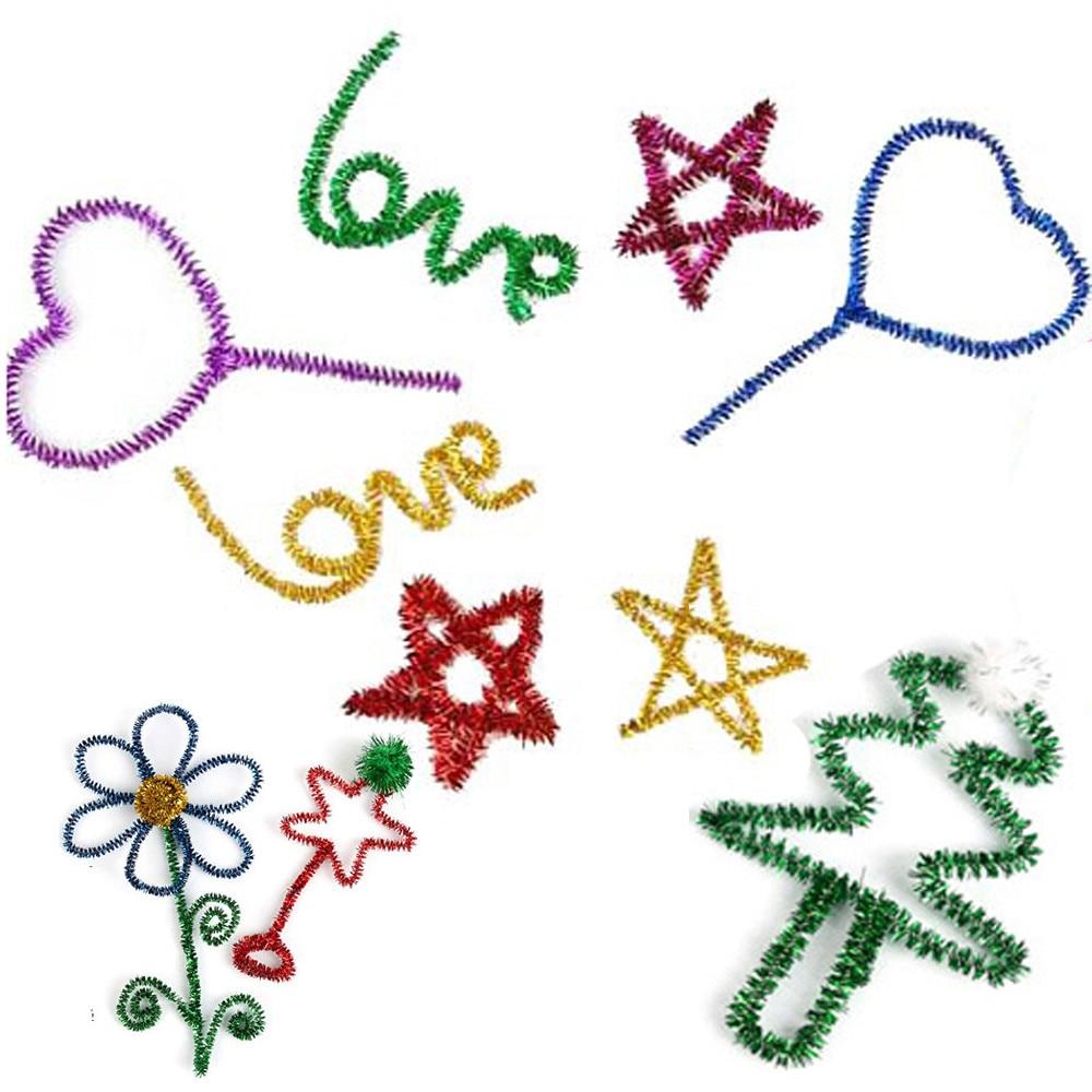 80pcs Kids Child Colorful plush sticks DIY materials shilly handmade art toy Color shine hair <font><b>roots</b></font> twist Stick Christmas Toys