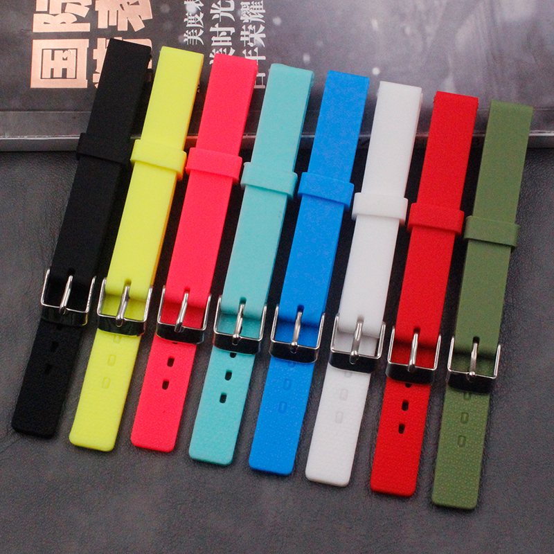 Silicone strap men's watch accessories pin buckle 12mm ladies waterproof sports casual natural rubber strap children's watch str