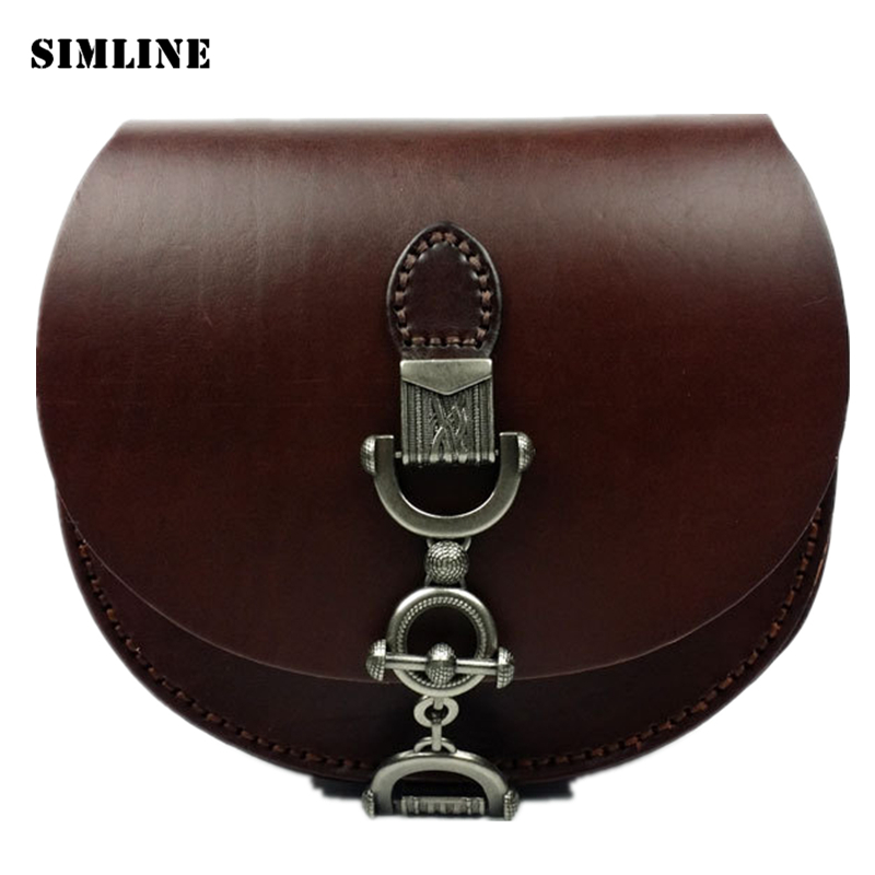 SIMLINE Brand Vintage Genuine Vegetable Tanned Leather Cowhide Women Small Messenger Bag Shoulder Crossbody Bag Bags For Ladies zooler brand genuine leather shoulder bags for women casual messenger bag ladies small cowhide leather crossbody bags sac a main