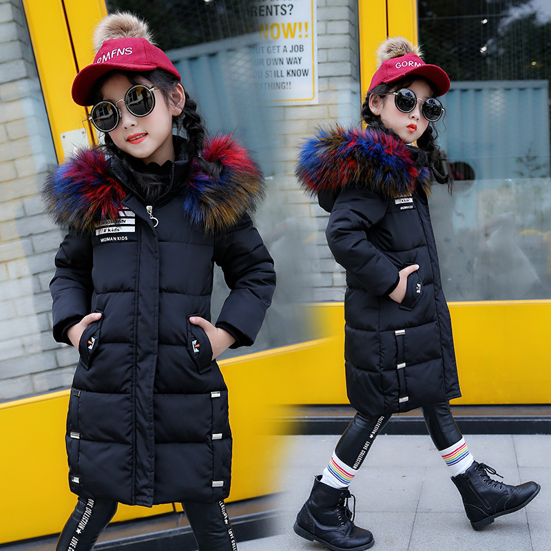 Girls Winter Jacket Coat Baby Children Kids Warm Parka Long Snowsuit Down Cotton Pad Clothes Color Fur Collar Hooded Jacket gkfnmt winter jacket women 2017 fur collar hooded parka coat women cotton padded thicken warm long jacket female plus size 5xl