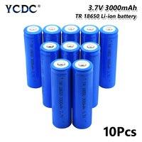 10pcs high performance 18650 battery 3000mah 3.7v lithium rechargeable cell for Laser Pen LED Flash light Cell battery holder