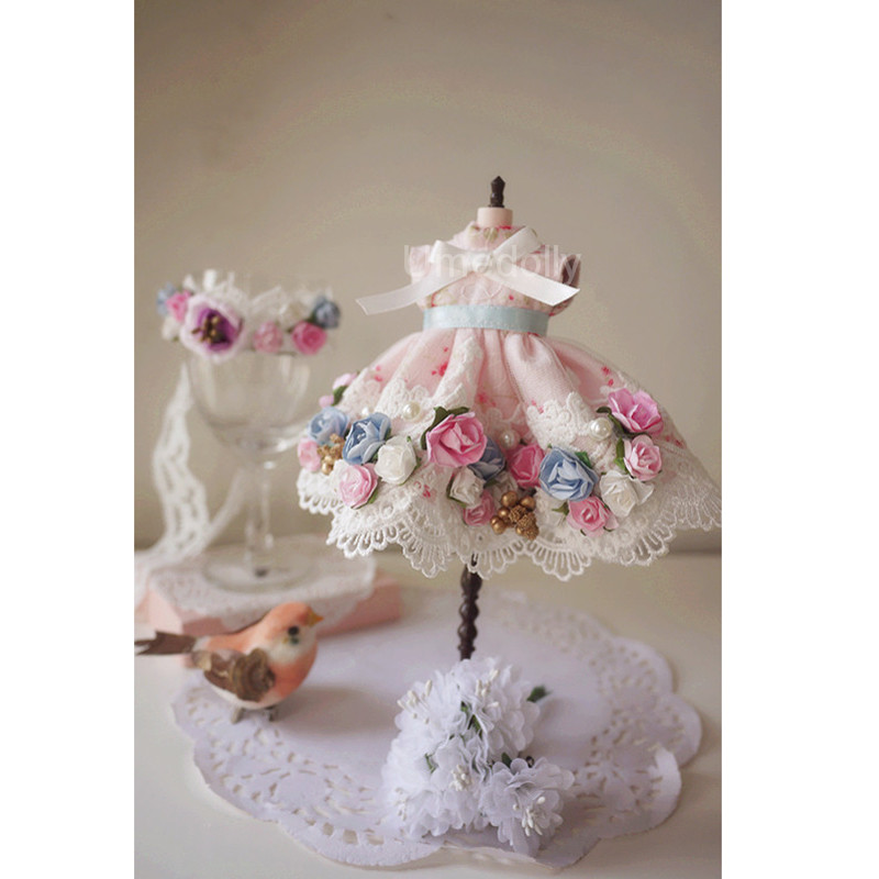 New Arrival 1 Set Cute Handmade Flower Chiffon Dress for Blyth Azone Doll Clothes Accessories