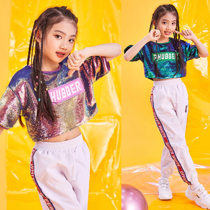 Summer New Style Sequin Kids Jazz Dance Costumes For Girls Hip-hop Stage Games Handsome Show 2pcs Costumes For Girls BL1109