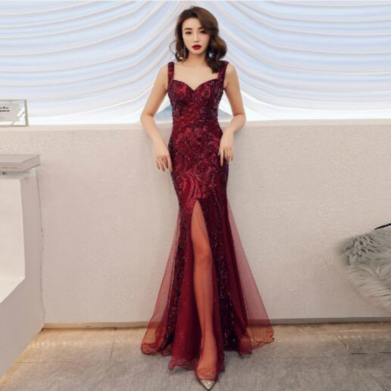 U-SWEAR 2019 New Arrival   Bridesmaid     Dress   Formal Sequin Illusion Split Front Mermaid/Trumpet Sexy Elegant Vestidos
