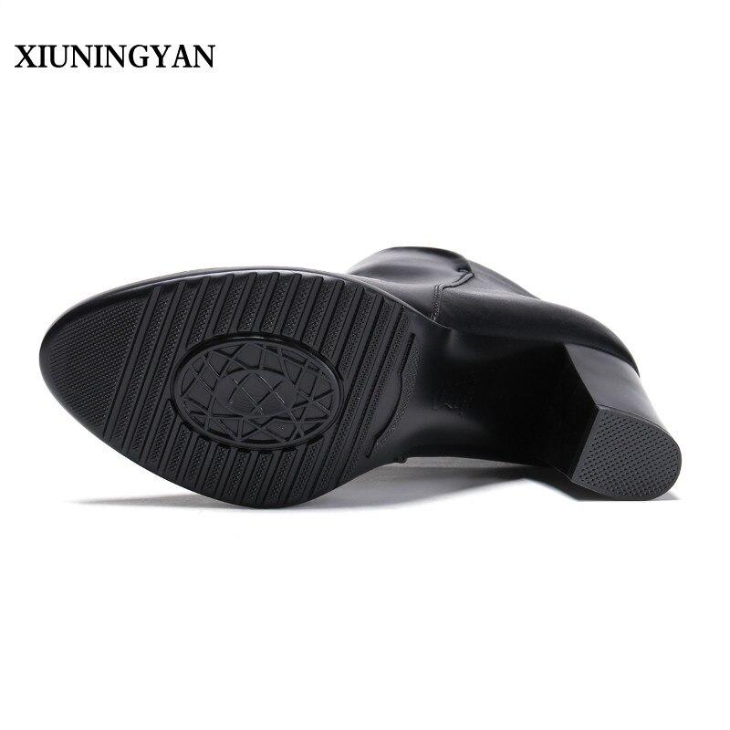 Zapatos Plush Grueso No Genuino Invierno Niñas Botas Cuero Plush Plush Moda Black Tacones black Tobillo Moto Mujeres Short Xiuningyan Talón Plataforma nubuck qpHWO