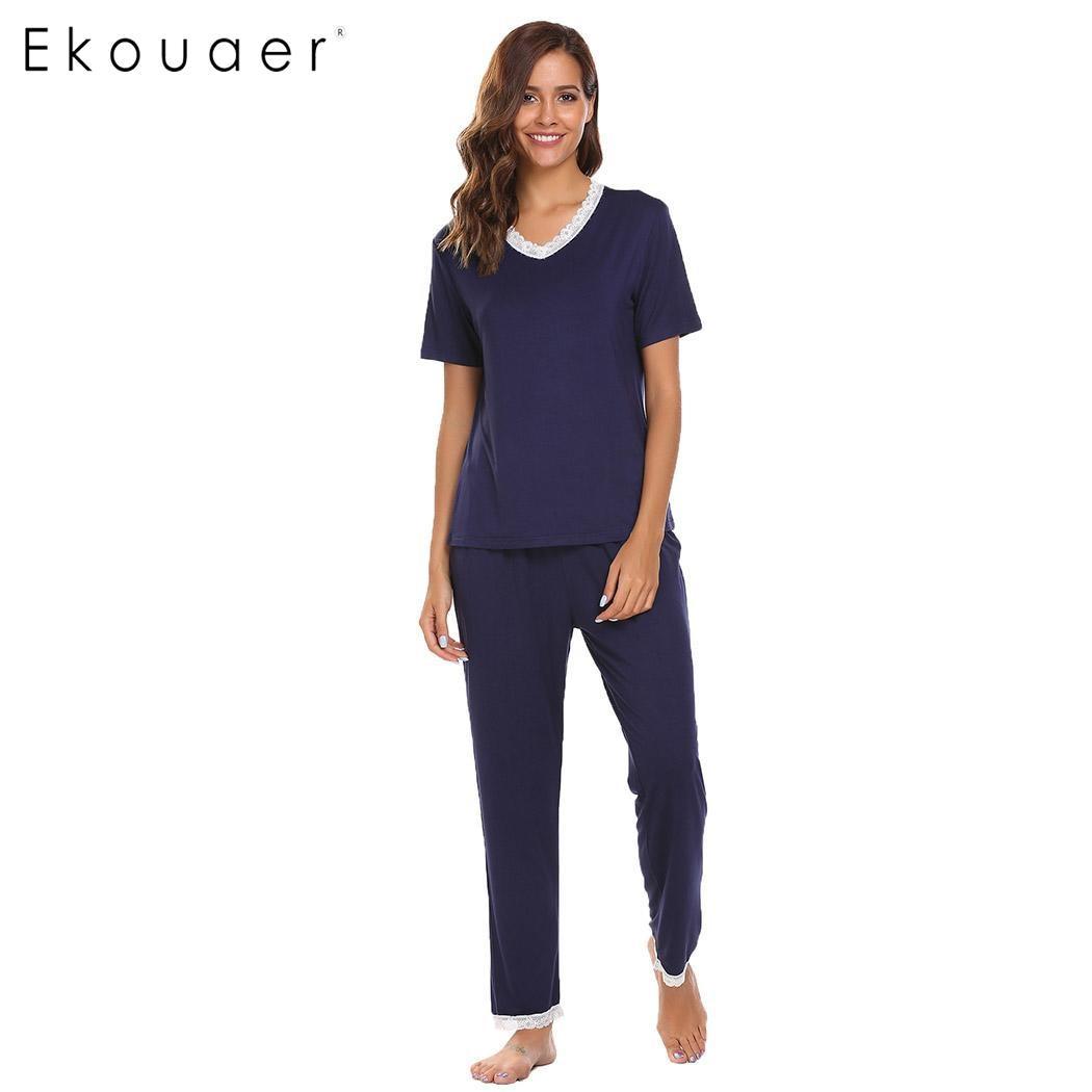 Ekouaer   Pajamas     Set   Women Soft Nightwear Short Sleeve V-Neck Lace Trim Pullover Tops Elastic Long Pants Casual Autumn Sleepwear