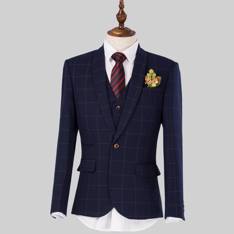 clearance sale only one set 75 off male suits 3 pieces men blue plaid slim suit jacket vest. Black Bedroom Furniture Sets. Home Design Ideas