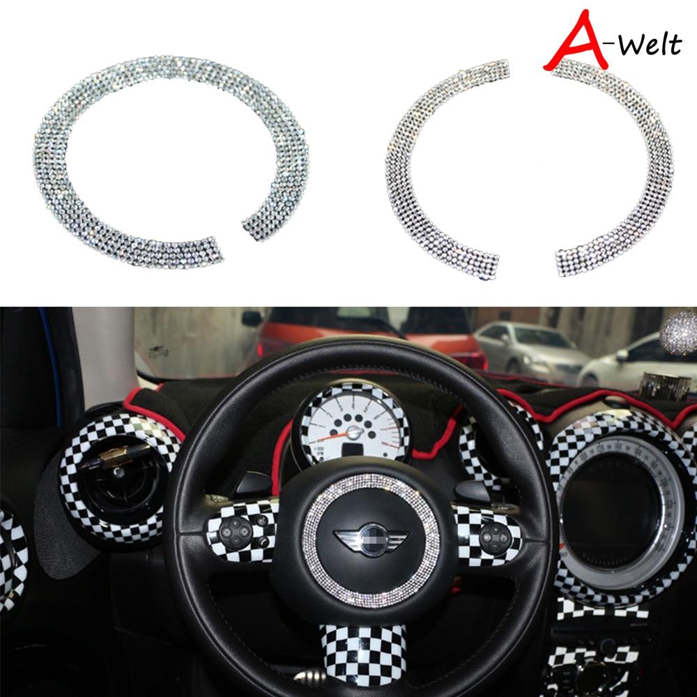 1pc Car Steering Wheel Diamond Decoration Ring Sticker For Mini Cooper Countryman R55 56 60 F55 F56 F54 Car-Styling Accessor