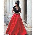 Completa Sexy Red Prom Dresses 2016 Robe De Soirée Longos vestidos de Noite vestido Mergulhando V Neck Cap Manga Curta de Cetim Formal Vestidos de Festa