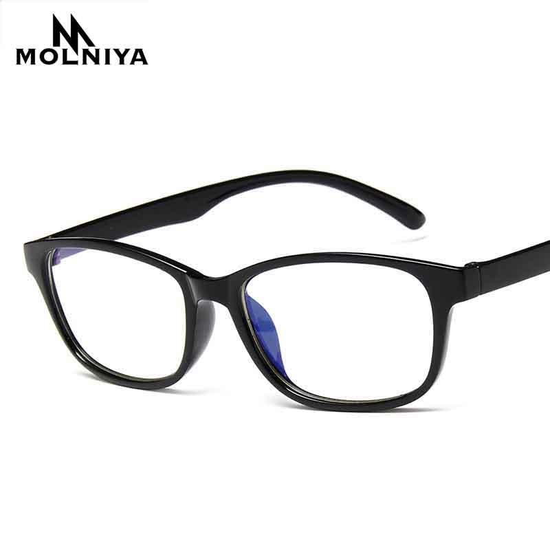 New Square Anti Blue Light Eye Frame Glasses Men Women Retro Light Printing Myopia Small Eyeglasses Frames Flat Mirror(China)