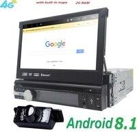 Универсальный 1 din Android 8,1 4 ядра dvd плеер gps Wifi BT Радио BT 2 ГБ Оперативная память 16 ГБ ROM16GB 4G SIM сети Рулевое колесо RDS