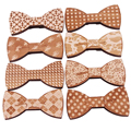 New Fashion Accessories Plaids Womens Mens Bowknot Bowtie Classic Carved From Wood Creative Bow Ties Necktie Wedding Party S5003