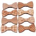 Nuevos Accesorios de Moda Plaids Mujeres Hombres Bowknot Bowtie Clásico Tallado De Madera Creativa Arco Corbata Banquete De Boda S5003